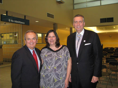 Shown at the Niagara Falls International Airport after the Jan. 12 press conference, from left, are State Sen. George Maziarz; Karen Karsten, chairman of the Seneca Gaming Corporation; and Robert Odawi Porter, president of the Seneca Nation of Indians. (photo by Susan Mikula Campbell)