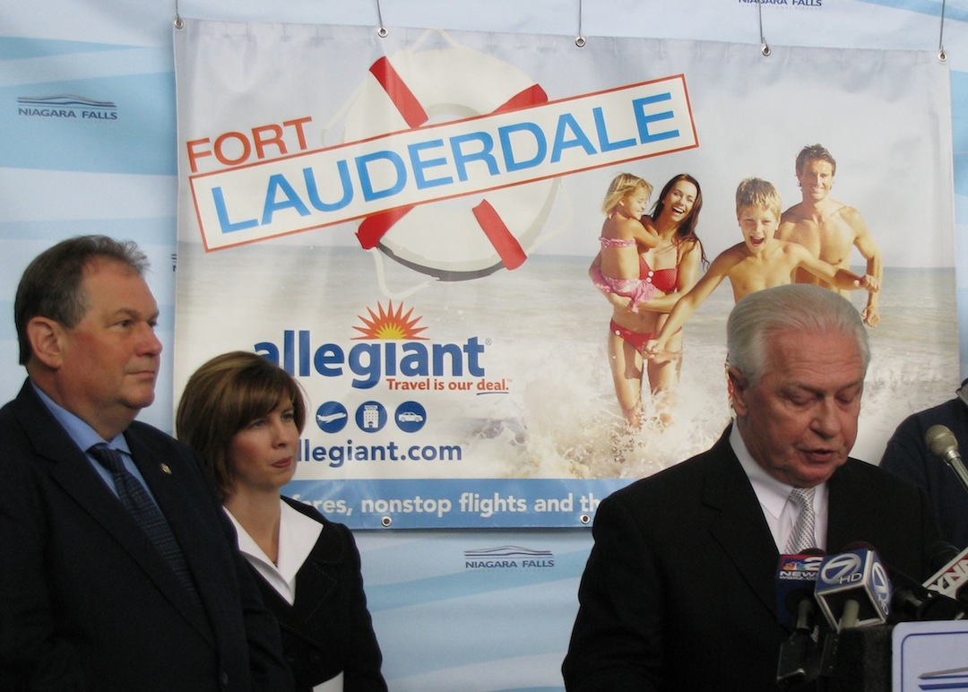 Shown at the announcement of Allegiant Airlines new flight between Niagara Falls and Fort Lauderdale, from left, are Assemblyman John Ceretto, NFTA Executive Director Kimberley Minkel and NFTA Board Acting Chairman Henry Sloma.