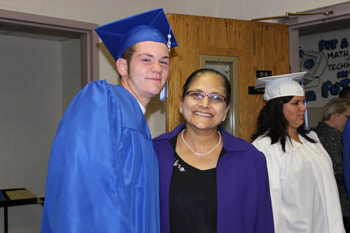 Shown is Troy Poitras of Niagara-Wheatfield with Niagara Academy Principal Dr. Sushma Sztorc.