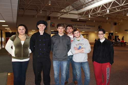 Some of the winners in the SkillsUSA Region 1 competition are, from left, Kimberly Ortiz (Niagara Falls), Josh Baptiste (Niagara-Wheatfield), Nick Hawkins (Starpoint), Dan Nugent (Wilson), Alex Burns (Niagara-Wheatfield) and Kiera Smith (Starpoint).