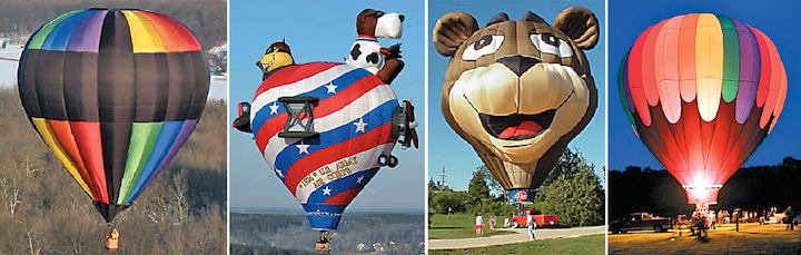 Pictured from left: balloons Déjà vu, Eddie-Rickenbacker, Sugar Bear and Yeowza.