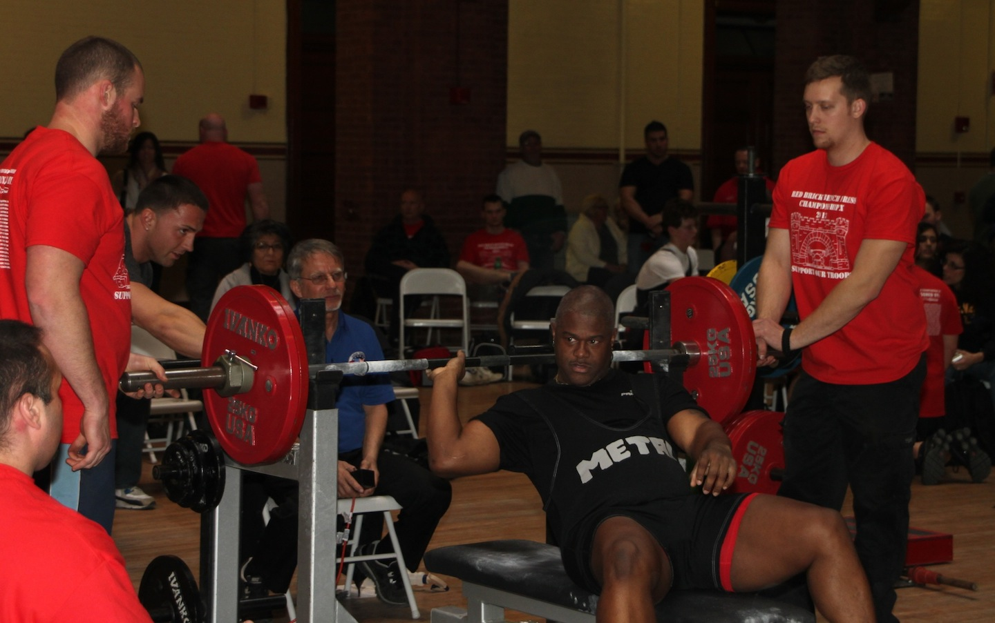 Anthony D. Gilmore was one of 135 weighlifters who competed last Saturday as part of the 10th annual USPA Red Brick Bench Press Championship  in Buffalo. The event, a fundraiser for local military. (photo by Thomas Cannuli)