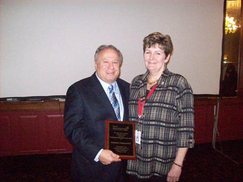 Frank Budwey is shown with Claudia Kurtzworth, program coordinator for the Cancer Services Program of Niagara County.