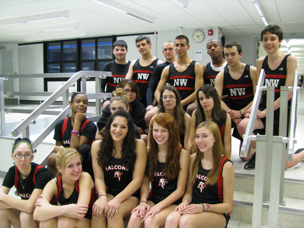 Niagara-Wheatfield's indoor track team includes, from left, first row, Sam Rivers, Alora Brusino (captain), Emily Zuniga (captain), Marina DiBartolomeo (captain), Karen Kummer; second row, Olivia King, Halle Sauer, Lindsay Abrams, Amy Orlowski; third row, Heather Hill; fourth row Zach Carr (captain), Andrew Wienke (captain), Jon Emmons, Matt Frye (captain), Forrest Mullen, Tyler Woods and Tyler Wright. Not shown is Jessica Gullo.
