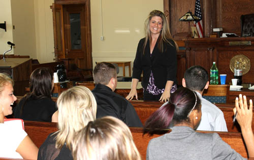 Legislator Brittany Catchpole addresses student interns before a meeting of the Niagara County Legislature. The 18-year-old county lawmaker was only recently an intern herself, before being selected to replace Legislator Danny W. Sklarski in county government when he resigned to take a seat on the Niagara Town Board.