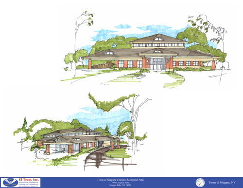 Pictured is a design of the community center. (courtesy of the EI Team)