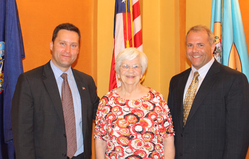 Niagara County Senior of the Year Betsy Diachun is congratulated by Niagara County Office for the Aging Director Ken Genewick, left, and Niagara County Legislature Majority Leader Rick Updegrove at the County Courthouse in Lockport. Diachun was lauded for her years of civic involvement, including serving on the boards of a number of foundations and agencies, as well as her work delivering home-delivered meals to other seniors and working as an elections worker in Ransomville and Youngstown.