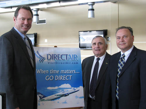 From left are William Vanacek, NFTA director of aviation; Niagara County Legislature Chairman Bill Ross; and Stan Rydelek of Direct Air. Rydelek on April 7 announced two new international flights coming to Niagara Falls International Airport. (photo by Susan Mikula Campbell)