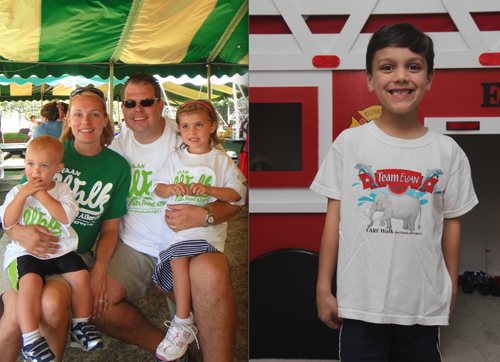 Above, left, the Washington family from Wheatfield is shown at last year's FARE Walk. Above, right, Evan Richey of Grand Island, captain of Team Evan for this year's walk, shows off the team shirt that he helped to design. His whole team will be wearing one like it on Aug. 10.