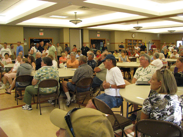 Residents affected by the new FEMA floodplain map filled the Wheatfield Community Center on July 15. One angry resident said his house has been in Wheatfield for 75 years and has never flooded.