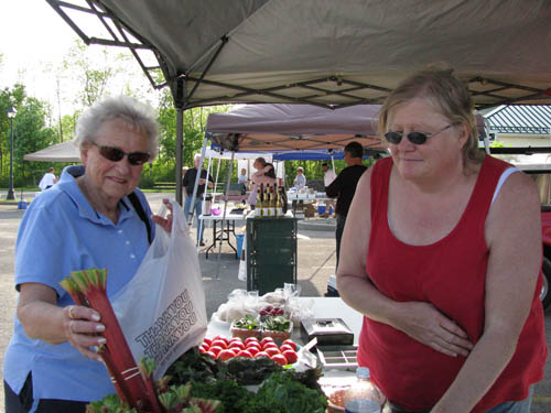 Wheatfield resident Nancy Mihalko buys rhubarb from Lynne McAvoy at the Prudom Farms booth.
