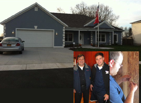 Above, the completed home for Cpl. Paul Schaus. Inset, Michael Gurnett, left, is shown with Schaus, whose new home, built by Homes for Our Troops, is in North Tonawanda. Mike Hetrick, far right, works on Schaus' home.