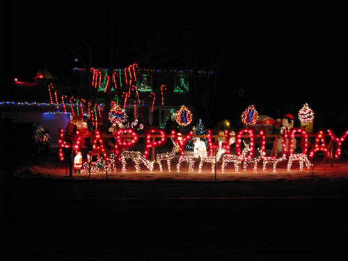 Holiday lights abound this time of year. Pictured is a decorative home in Youngstown.