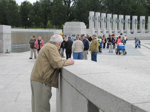 World War II veteran Jacque Austin of Wheatfield surveys the World War II Memorial in Washington, D.C.  Austin served with the Army in Europe.