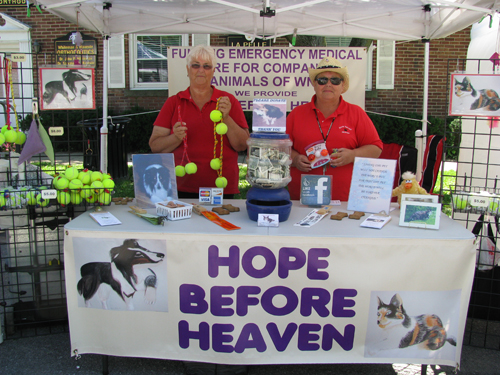 Linda Hepler, left, founder of Hope Before Heaven, is shown with Judy Swierczek, the group's secretary, at the Lewiston Art Festival.