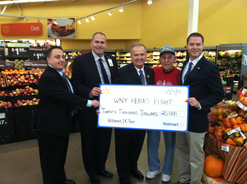 Shown from left are Chris Lazarou, North Tonawanda Walmart store manager; John Smith, market manager; State Sen. George Maziarz; Sil Dan, World War II veteran and last year attendee; and NT Mayor Robert Ortt.