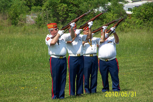 Pictured is the Conrad Kania Detachment of the Marine Corps League providing a live gun salute. The group will be part of the Memorial Day program in Town of Niagara on Monday.
