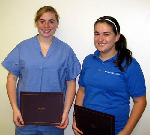 Taraneh Jacobs, left, and Kelly Bourque received Junior Volunteer Scholarships from Niagara Falls Memorial Medical Center.