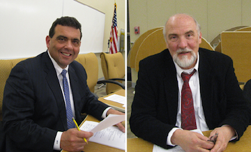 Carl Militello, left, shown in 2010, resigned from the Niagara-Wheatfield School Board. Kerin Dumphrey was appointed acting superintendent.