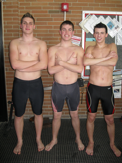 Among 11 N-W swimmers competing in the sectionals, from left, are Dan Peltier, Troy Wagner and Dan Zendano