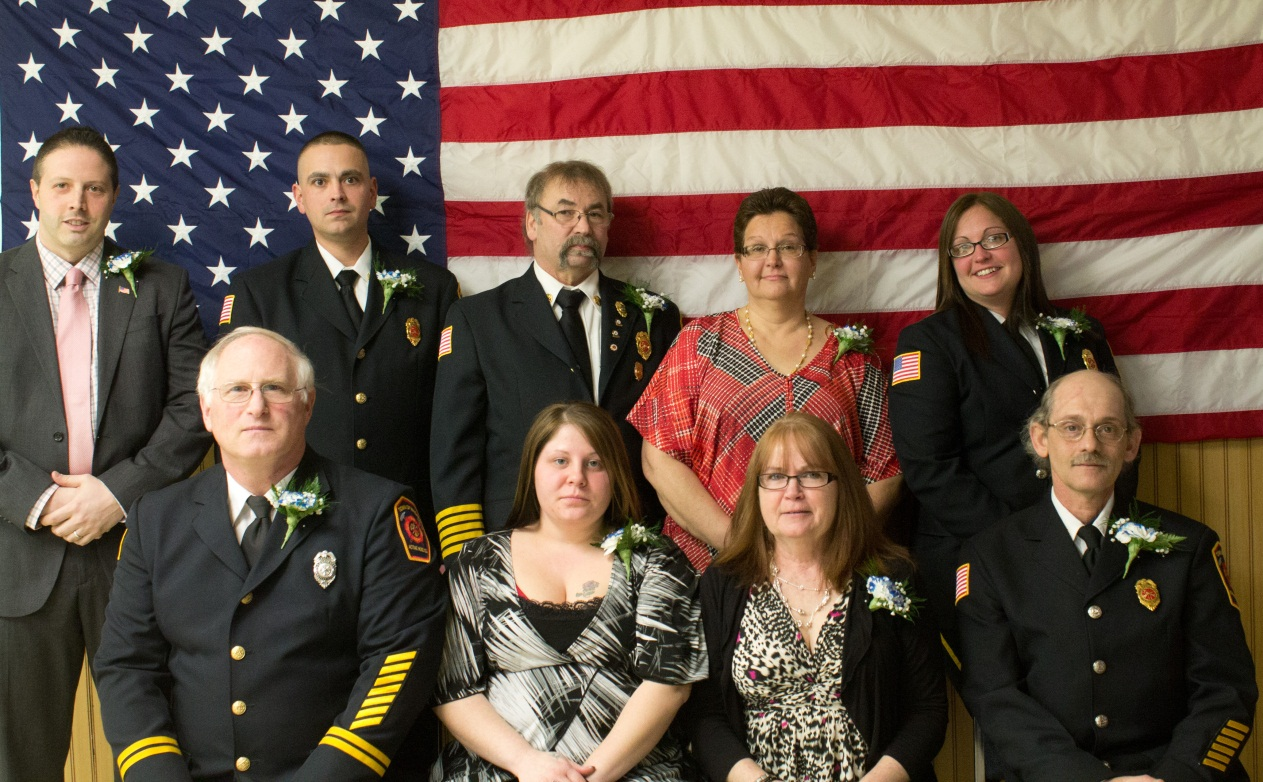 In the photo above are the 2013 executive board officers: Top row, from left, are Jason Zona, Niagara County legislator, who installed the executive board, President Robert Jasper Jr., Vice President Patrick Barney, Secretary Eileen Jasper and Treasurer Mary Jasper; bottom row, two-year Trustee Mark Dembitsky, three-year Trustee Lindsay Jasper, one-year Trustee Cheryl Jasper and Sergeant-at-Arms Ronald LaChat. (photo by Christina Jasper).