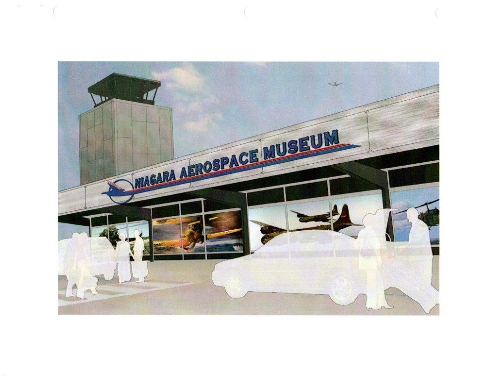 An artist's depiction of future museum. (photo courtesy of the Niagara Aerospace Museum).