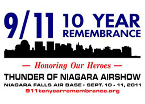 The Niagara Military Affairs Council is once again involved in the Niagara Falls Air Reserve Station's air show, this year honoring the 10-year memorial of 9/11, first responders and the U.S. military.  The U.S. Air Force Thunderbirds Military Jet Team has been scheduled to perform. Capt. Ben Canetti, director of the 2011 Thunder of Niagara Air Show, is a NIMAC member.  The logo is the work of Janelle Pierce, a graphic designer with Cooper Sign Company Inc., Town of Niagara. John Cooper is NIMAC's vice chairman.  For more information on the show, visit www.thunderofniagaraairshow.com.