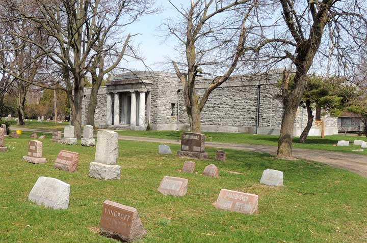 The 100-year-old E.B. Green-designed mausoleum at Oakwood Cemetery