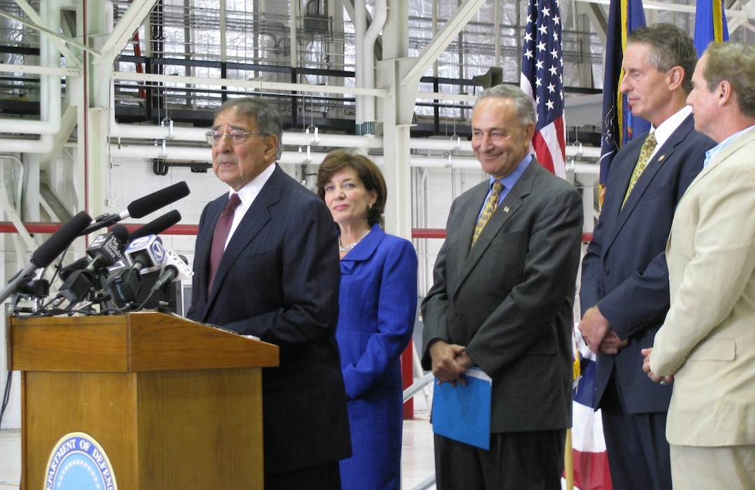 Department of Defense Secretary Leon Panetta speaks to reservists at the Niagara Falls Air Reserve Station. Behind him are Rep. Kathy Hochul, Sen. Charles Schumer, Lt. Gov. Robert Duffy and Rep. Brian Higgins.