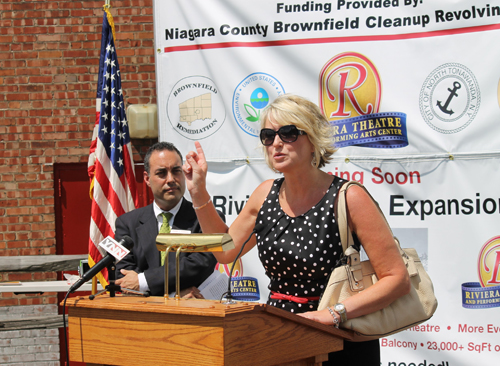 Niagara County Legislator Kathryn Lance praises county economic development officials last week for their efforts to secure funding for the rehabilitation of sites like North Tonawanda's Historic Riviera Theatre, which will utilize funding secured from the county to remove a contaminated building located on its property to make room for a planned expansion.