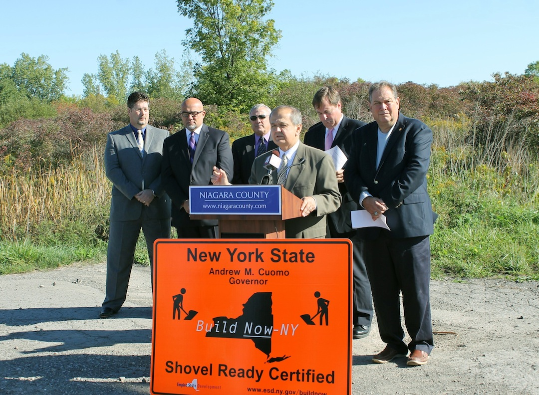State and local leaders and partners from the private sector join Sen. George D. Maziarz in announcing New York state's certification of the Niagara Airport Commercial Park as a `shovel-ready` site Thursday morning. Joining Maziarz are, from left, National Grid Regional Executive Dennis Elsenbeck, Buffalo Niagara Enterprise President and CEO Thomas Kucharski, Niagara County Legislature Chairman William L. Ross, Empire Development Corp. Regional President Sam Hoyt and Assemblyman John D. Ceretto.