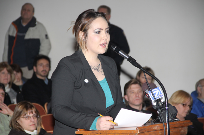 Morgan Dunbar of Animal Allies of WNY spoke during the public session.