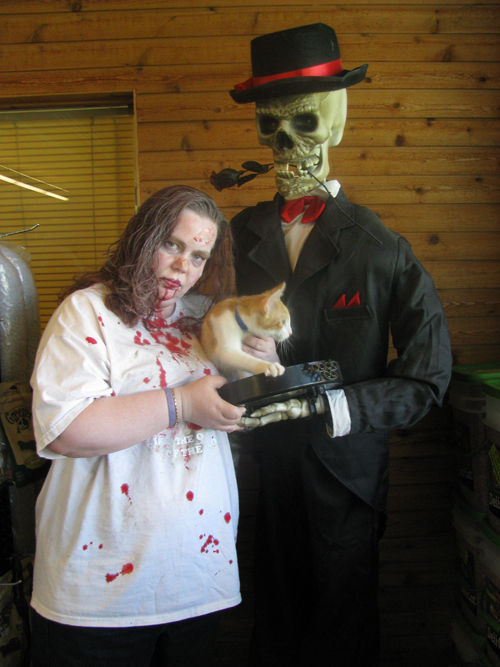 `Zombie` Jenn Lafornara holds Honda the cat, who is looking for a new home and not impressed by the green-faced figure in the SPCA lobby.