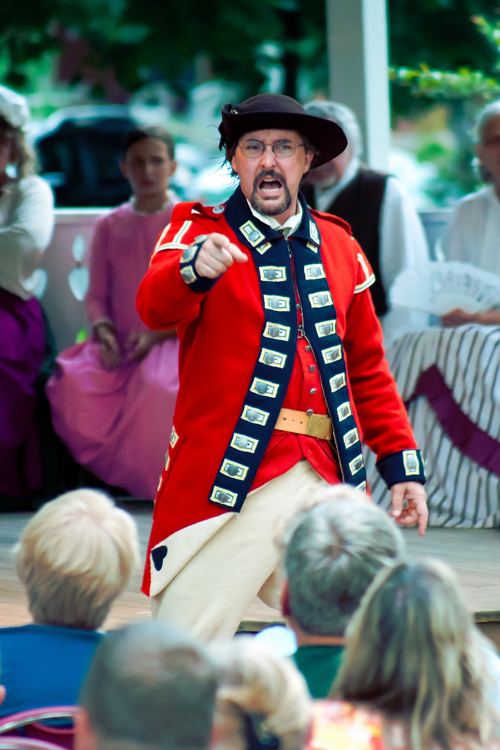 Matt Hake `attacks` an audience at a performance of  `Spirits of 1812` in Lewiston last summer. (photo by Wayne Peters)