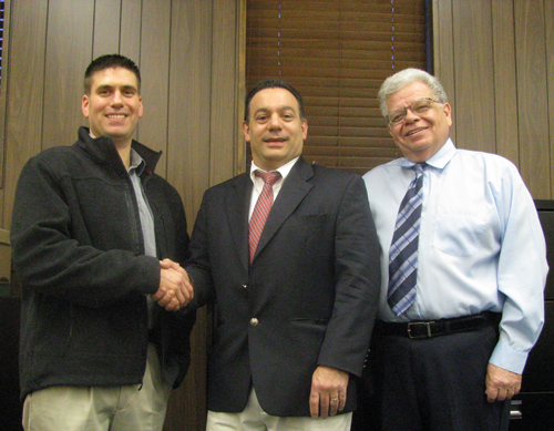 Shown from left are new Town of Niagara Police part-time officer Victor C. Muto, Town of Niagara Police Commissioner and Councilman Charles Teixeira, and Town Supervisor Steve Richards. (photo by Susan Mikula Campbell)