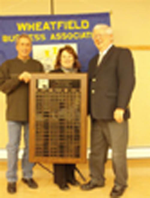 WBA Vice President Jim Candella and President Sharon DiPasquale are shown with Wheatfield Supervisor Bob Cliffe, right.