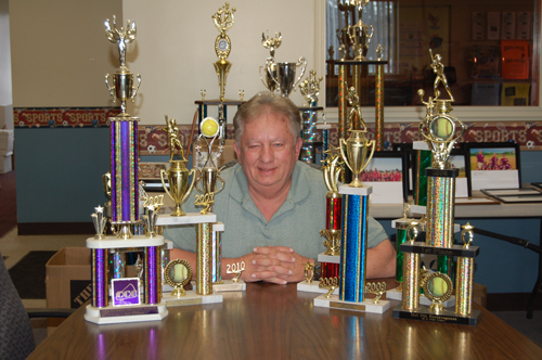Recreation Director Ed Sturgeon is looking for a new home for about 300 to 400 trophies in storage at the town's Youth Center.