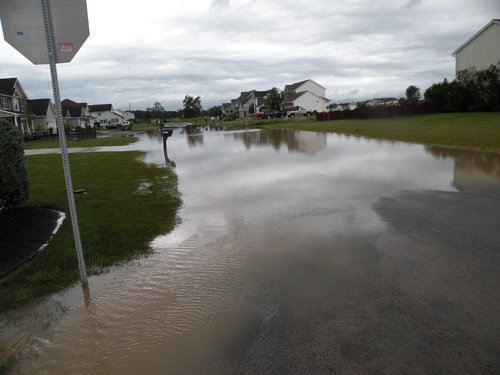 Eaglechase off Lockport Road was flooded and without power. One resident reported three feet of water in his basement.