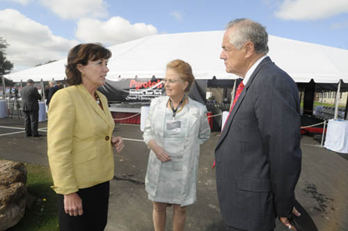 Allan Roy, president and CEO of Pyrotek and his wife, Mearle Roy, discuss the grand opening of the newly expanded operations of Pyrotek in Sanborn, with Congresswoman Kathy Hochul (far left).